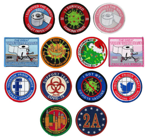 TP 95 EMBROIDERED PATCH IRON ON BIOHAZARD TOILET PAPER VIRUS CRISIS SEW ON