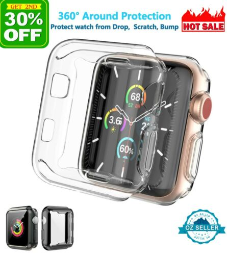 For Apple Watch Full Screen Protector TPU Clear Case 6 5 4 3 2 SE 40 44 38 42