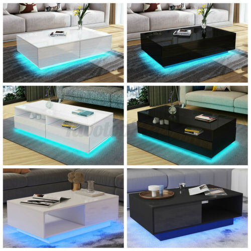 LED Modern Coffee Table High Gloss with Drawers Storage Side End Table Furniture