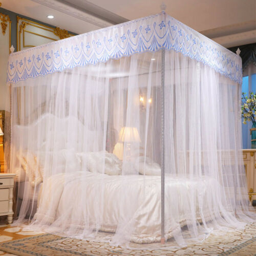 Elegant Mosquito Net Bed Canopy 4 Corner Post Curtains w/ Frame Full/Queen/King