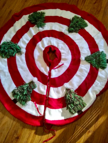 """Red White Striped Green Yarn 48"""" Knitted Christmas Tree Skirt"""