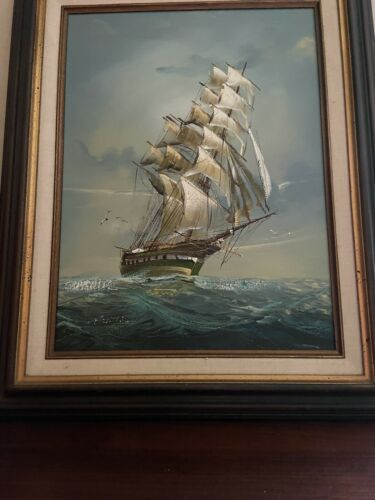Wonderful oil on canvas ship painting