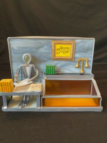 Vtg Stained Glass Attorney at Law Business Card Holder Folk Art The Glass People