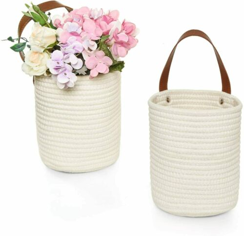 Gonioa 2 Pack Wall Hanging Cotton Storage Baskets, Small Rope Woven...