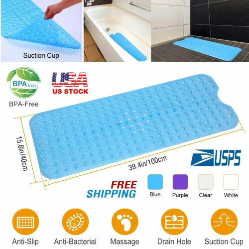 Non Slip Bath Tub Mat Anti-Bacterial Extra Large Shower Safety Pad Kitchen Pool