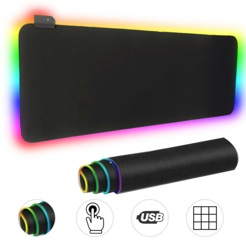 LED Extra Large Soft Gaming Keyboard Mouse Pad RGB Glowing Mice Pad 80 x 30 CM