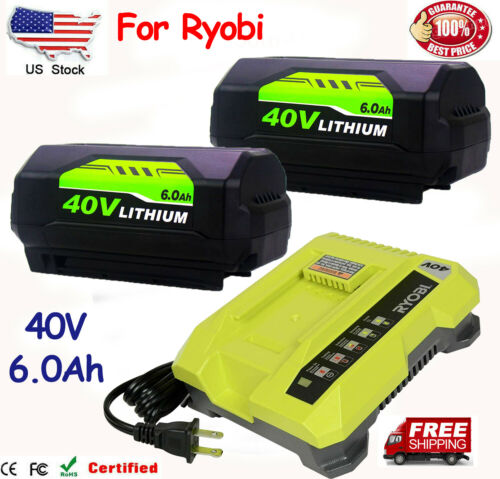 6.0Ah For Ryobi 40V Lithium Battery or Charger High Capacity OP4015 OP4026 OP401