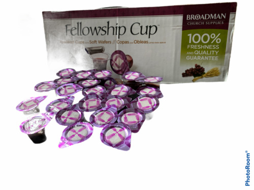Broadman Church Pre-Filled Communion Cup, Juice & Wafer Set (Pack of 25)