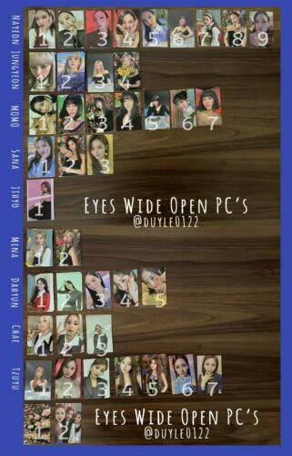 TWICE Eyes Wide Open Photocards, mini poster, message card, sticker and preorder