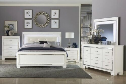 NEW WHITE LED Queen-King 4PC Bedroom Set Modern Furniture Bed/Dresser/mirror/NS