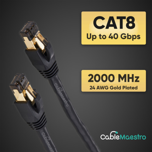 CAT8 Ethernet Cable Cord Patch Copper 24AWG SFTP Shielded RJ-45 0.5-75FT Lot