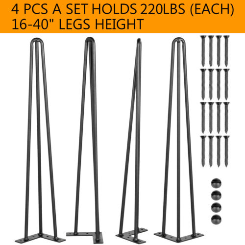 """VEVOR Hairpin Table Legs 16 to 40"""" Coffee Table Metal Legs 3-Rod Iron Set of 4"""