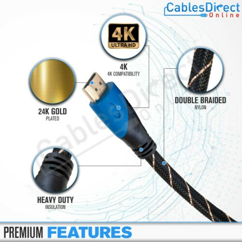 4K Gold HDMI Cable 1.4 3d Lot PS3 Length 3ft 6ft 10ft  20ft 30ft 40ft 50ft 100ft