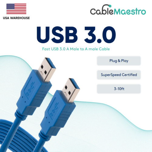 USB 3.0 Extender Extension Cable Cord Type A Male to A Male 3-10FT HIGH SPEED