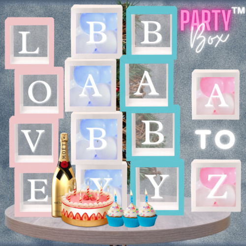 A-Z Letter Transparent Balloon Boxes DIY Baby Shower Decorations Party Love Cube