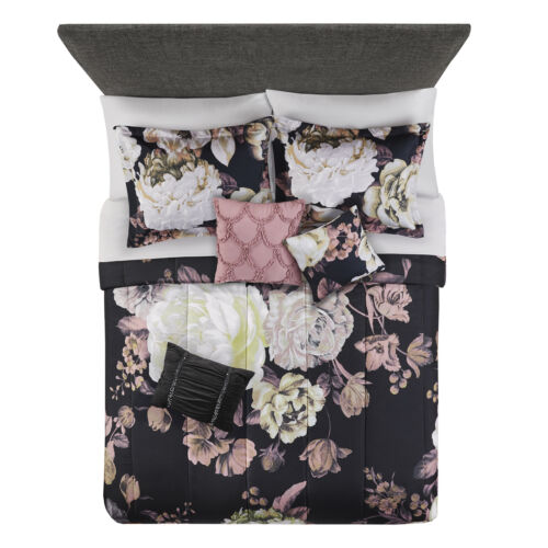 Mainstays Black Floral 8 Piece Bed in a Bag Set with Sheets