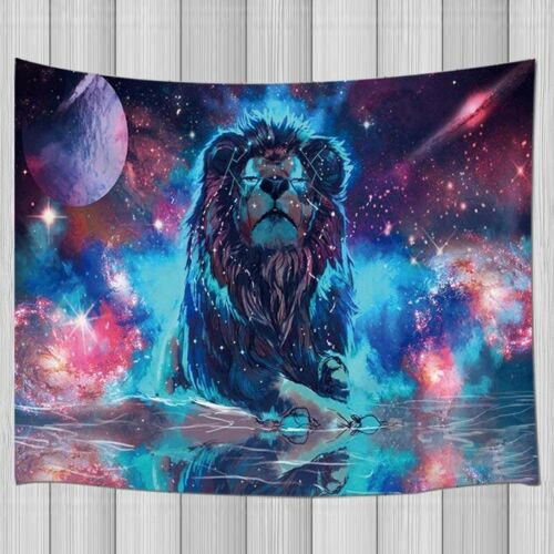 Universe Galaxy Lion Tapestry Blacklight Tapestry Wall Hanging Dorm Wall Blanket