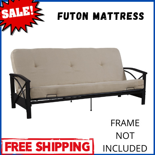 Full Size Futon Mattress 6 Inch Polyester Thermobonded High Density Tan