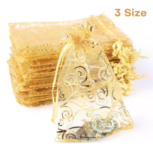 50/100pcs Organza Favor Drawstring Bags Wedding Jewelry Candy Party Gift Pouches