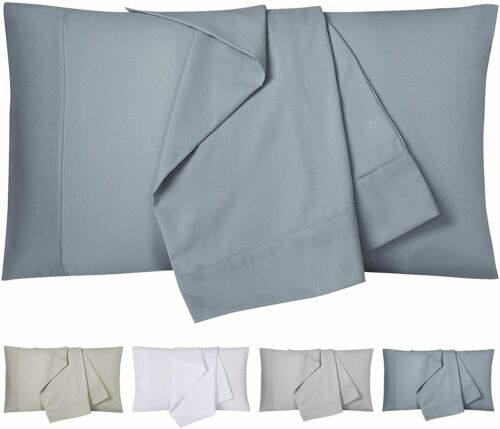2 Pack Solid Microfiber Pillowcase Pocket Closure 120GSM Pillow Cover Queen King