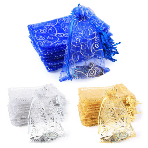 50/100pcs Gift Bags Organza Drawstring Sheer Wedding Party Jewelry Favor Pouch