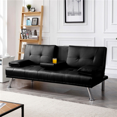 Easyfashion Modern Faux Leather Futon with Cupholders, Convertible Bed, Black