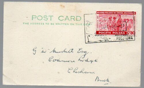 Puland: 1944 card from Free Polish Navy ORP Wilk to Bucks