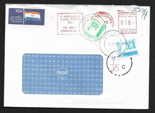 SOUTH AFRICA, 1988 COVER TO ZIMBABWE, TAXED AND 19c POSTAGE DUES ADDED.