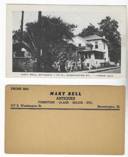 2-VINTAGE-POSTCARDS-MARY BELL ANTIQUES-BLOOMINGTON, ILLINOIS