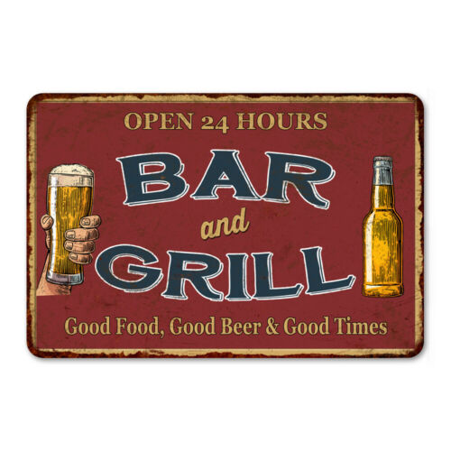 Bar and Grill Beer Pub Décor Man Cave Signs Vintage Metal Sign 8x12 108120068020