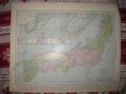 ANTIQUE 1907 JAPAN FORMOSA RIUKIU KURILE YEZO ISLANDS PERSIA AFGHANISTAN MAP NR
