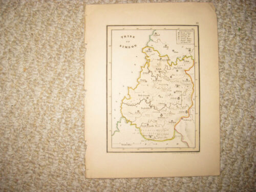 ANTIQUE 1836 TRIBE SIMEON ISRAEL HANDCOLORED MAP JEWISH JUDAISM TORAH SUPERB NR