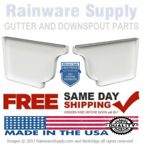 End Caps 5 Inch Aluminum K Style Gutters, White, Clay, Brown, Left, Right, Pair