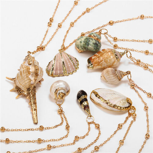Natural Shell Necklace Sea Shell Conch Pendant Collar Choker Beach Chain Jewelry