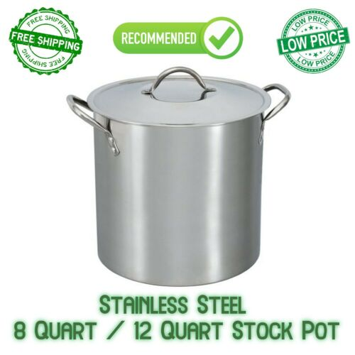 Stainless Steel Pot With Lid Cooking Kitchen Soup Stew Sauce Stockpot 12 Q, 8 Q