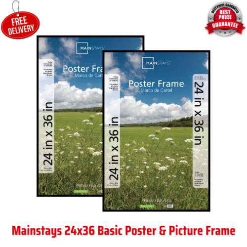 24x36 Basic Poster & Picture Frame, Home Office and Business Use, Black, 2 Pack