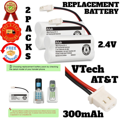 Handset Phone Replacement Battery Cordless VTech AT&T Telephone 300mAh 2 Pack