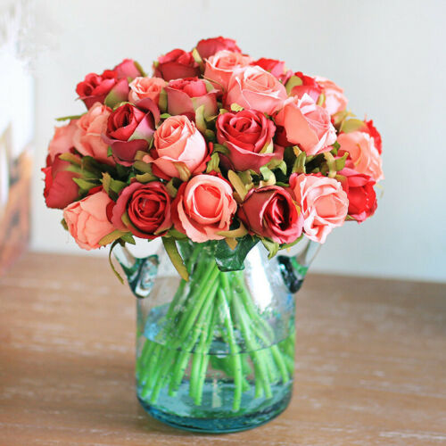 12 Head Artificial Rose Flowers Fake Flower Bouquet for Wedding Party Home Decor