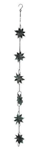 Metal Pinwheel Rain Chain with Attached Hanger 48 inch
