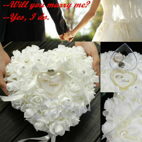 Ivory Satin Crystal Tie Flower Wedding Ceremony Ring Bearer Pillow Cushion Gifts