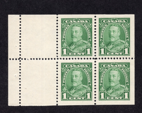 Canada #217a 1 Cent Green King George V Pictorial Issue Booklet Pane MNH