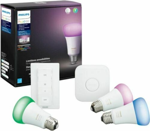 Philips Hue 556709 LED Starter Kit - 3 Color changing bulbs, 1 dimmer, 1 control