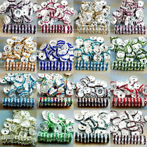 100pcs Czech Crystal Rhinestone Silver Rondelle Spacer Beads 4, 5, 6, 8, 10mm