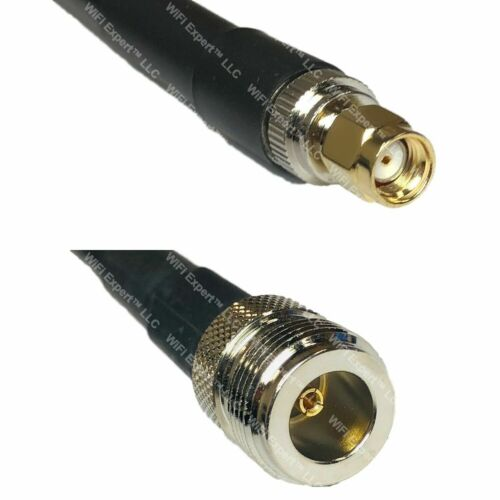 USA-CA LMR400 RP-SMA MALE to N FEMALE Coaxial RF Pigtail Cable LOT