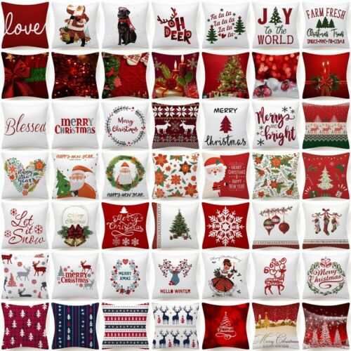 """Throw PILLOW COVER Christmas Decorative Xmas Double-Sided Cushion Case 18x18"""" US"""