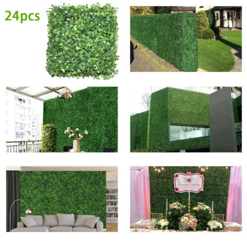 """24pcs Artificial Boxwood Mat Wall Hedge Decor Privacy Fence Panel Grass 10""""x10"""""""