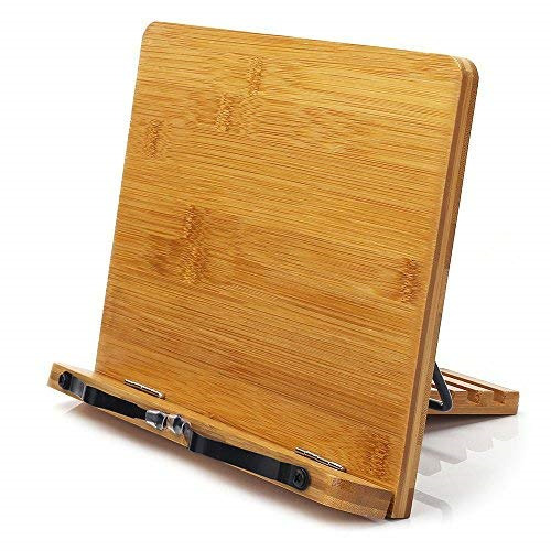 Bamboo Book Stand, wishacc Adjustable Book Holder Tray and Page Paper Reading