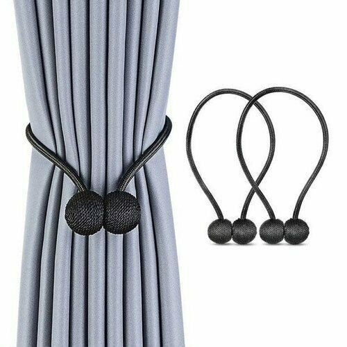 Magnetic Curtain Tieback 16.5 Inches Satin Round Ball Design, Set of 2