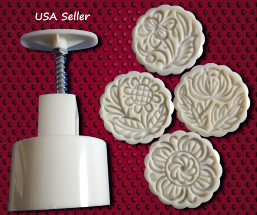 Moon Cake Pastry Mold Hand Pressure Round 4 Flowers stamps Baking Tools 100g