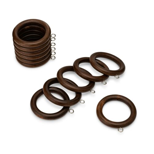 Wood Curtain Clip Rings 2.25 Inch Inner Diameter Comes in 5 Finishes, Set of 12